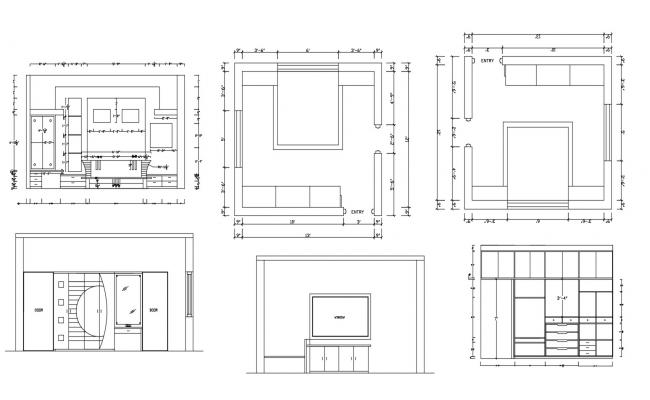 Master bedroom layout in autocad with elevation