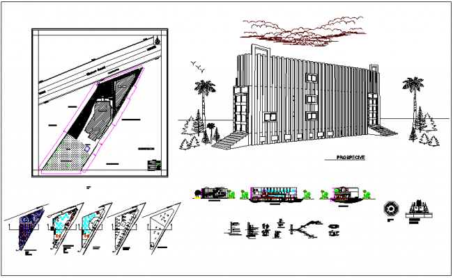 Master plan,elevation and sectional view with perspective view of education center dwg file