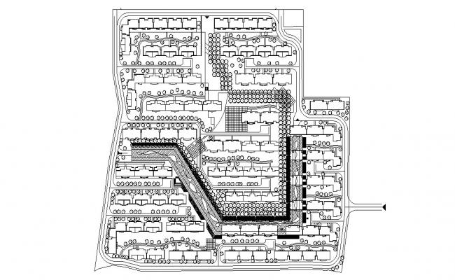 Master plan of Twin Bungalow Design AutoCAD File Free