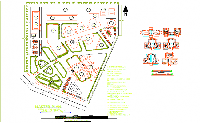 Master plan view, different portion view, elevation of hospital dwg file