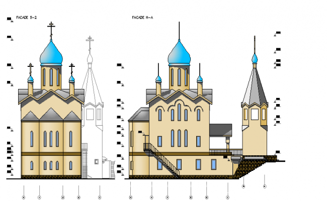 Material finish church elevation detail