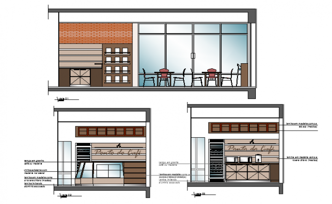 Material finish elevation of cafe