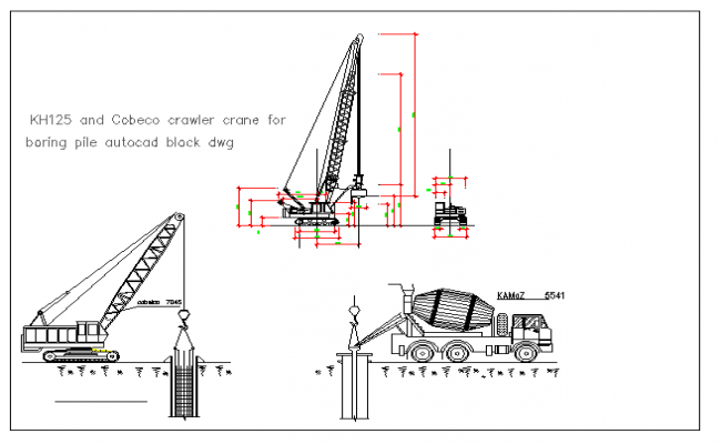Mechanical drawing of crawler crane for boring dwg file
