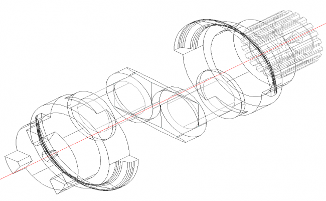 Mechanical shaft isometric view detail dwg file