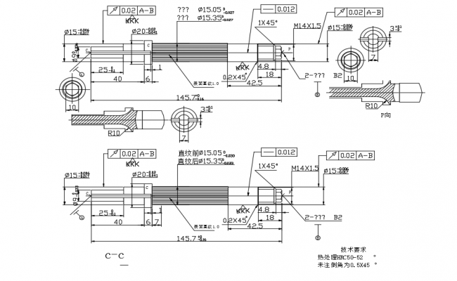 Mechanical spindle with tolerance detail,elevation,side view and sectional detail dwg file