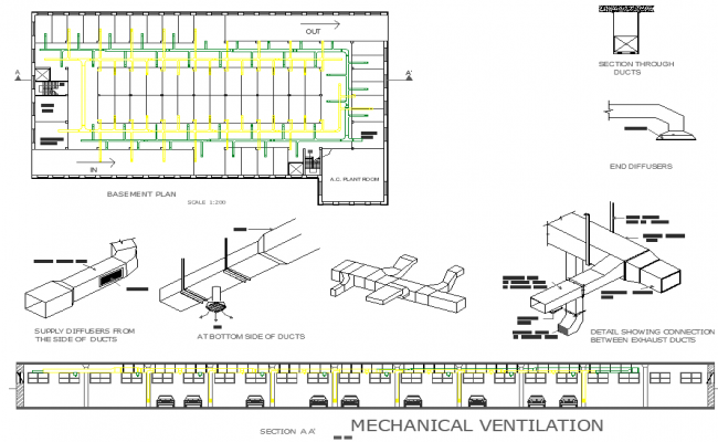 Mechanical ventilation plan detail dwg file