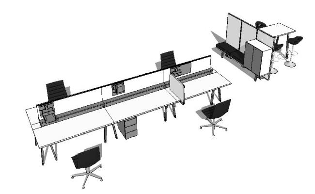 Meco bench and office furniture 3d blocks cad drawing details skp file