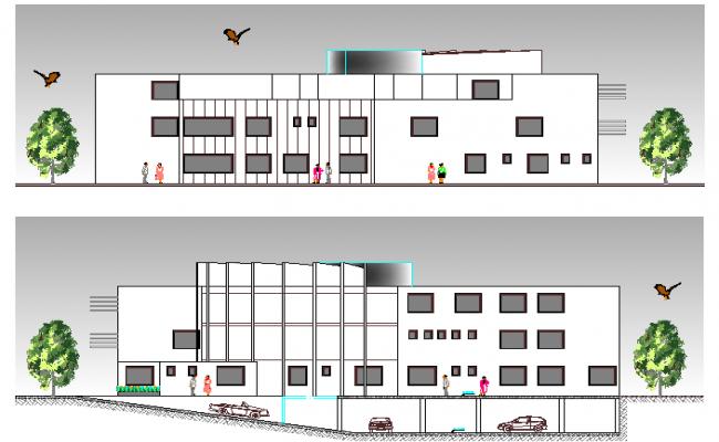 Medical Center Design and Elevation dwg file