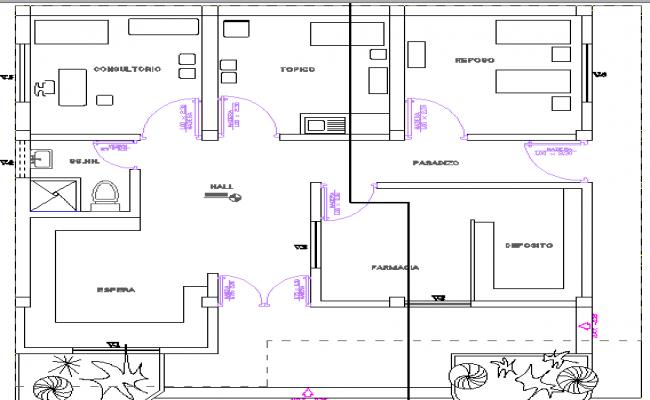 Medical Center Design and Section Details dwg file