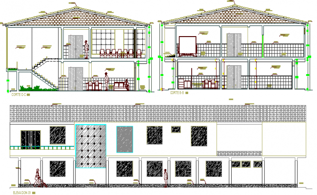 Medical Health Center Architecture Elevation, Section dwg file