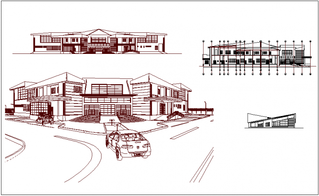 Medical center Isometric and elevation view of hospital dwg file