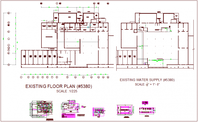 Medical clinic plan view, water supply system, door schedule existing floor dwg file