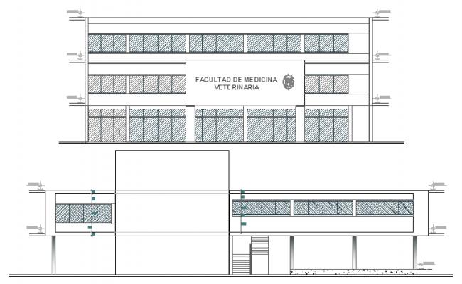 Medical college front and back elevation details dwg file