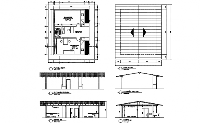 Medical post at industry Section, elevation and plan detail dwg file