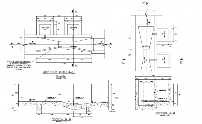 Medidor parshall plan and section detail dwg file