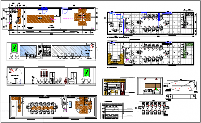 room interior design of corporate office dwg file