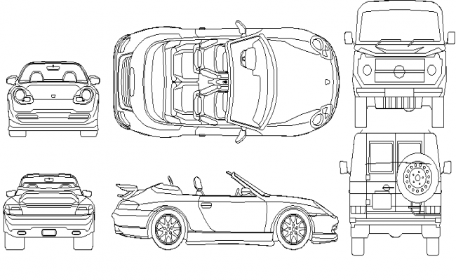 Mega Blocks of Car Design dwg file