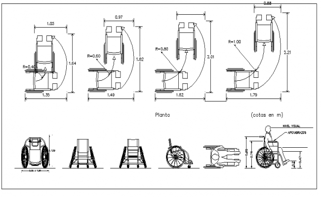 Mega Blocks of Wheel Chair Design dwg file