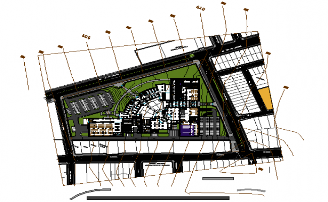 Mega Centro commercial layout plan detail dwg file