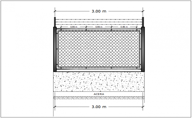 Mesh steel fencing block dwg file