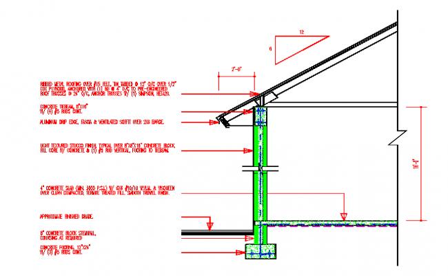 Metal Roof deck cad Section details