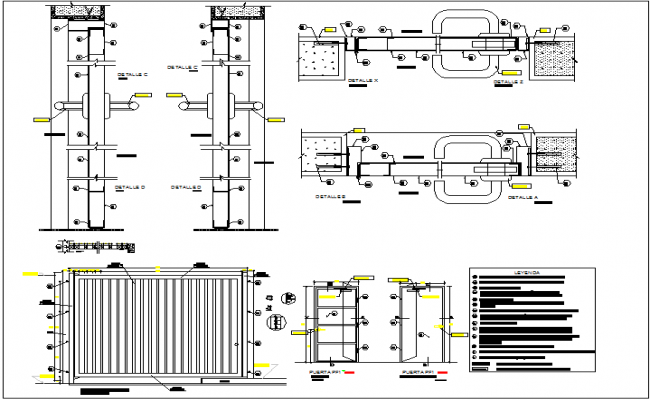 sc 1 st  Cadbull & Metal door design view with detail and legend dwg file
