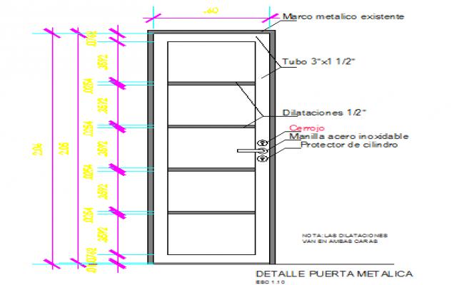 Metal door installation details dwg file