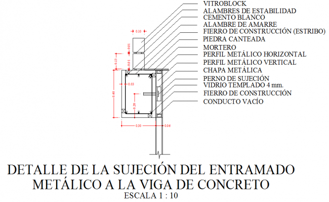 Metal frame work for concrete beam dwg file