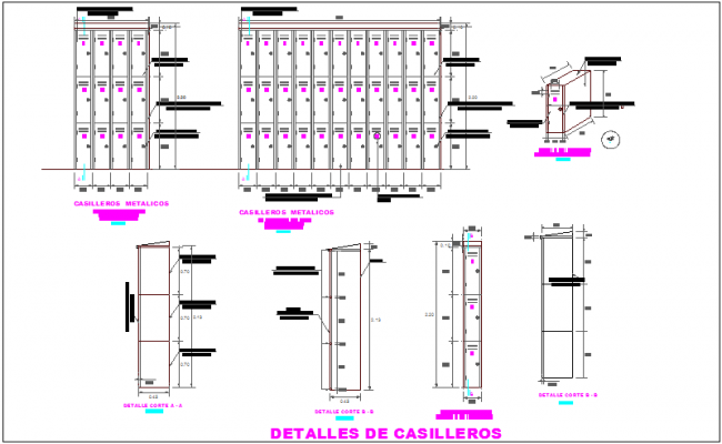 Metal lockers elevation and detail view of steel structure for dental clinic dwg file