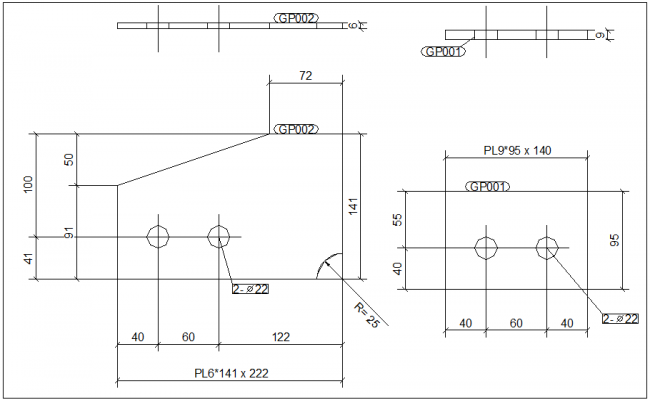 Metal part view for structural design dwg file