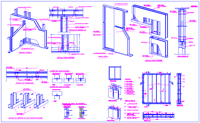 Metal plate and channel joint view with steel structure view for school dwg file