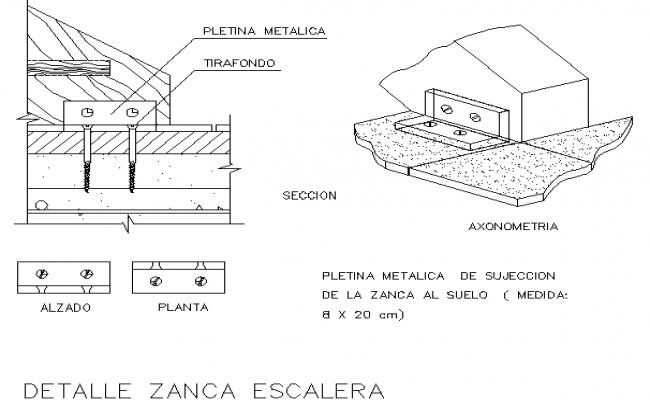 Metal staircase stringer details dwg file