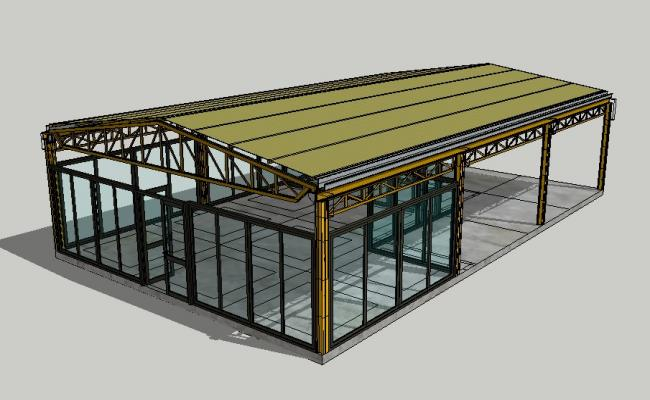 Metal structured 3d shelter house type cad drawing details skp file