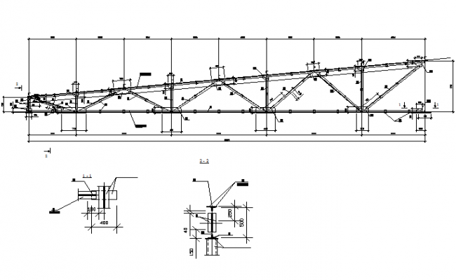 Metal truss structural detail dwg file
