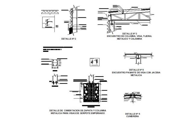Metallic column, beam construction and structure details of building dwg file