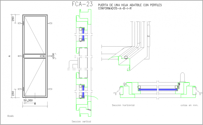 Metallic door view with isometric and sectional view
