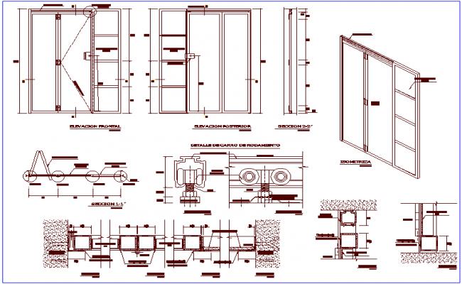 Metallic folding door design with isometric view