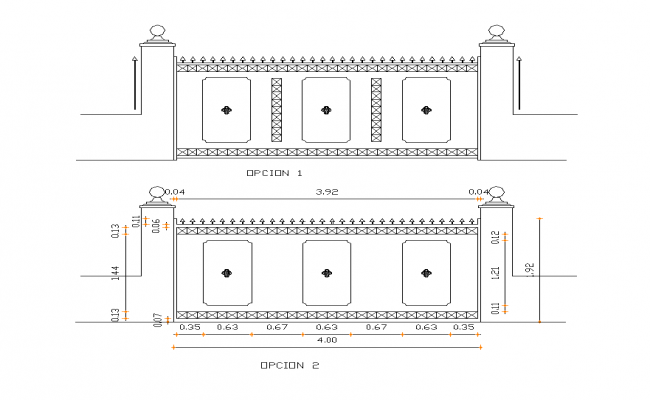 Metallic gate detail elevation 2d view layout file