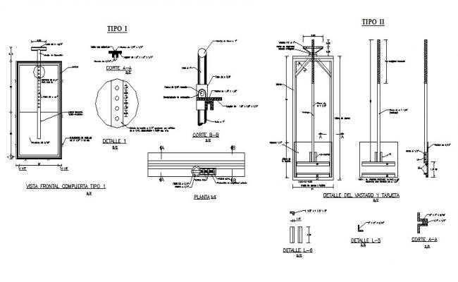 Metallic gate type section, plan and construction details dwg file