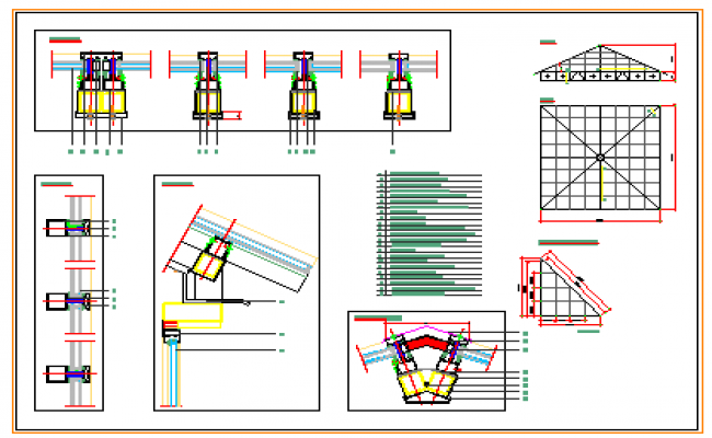 Metallic glass pyramid motorized section design drawing