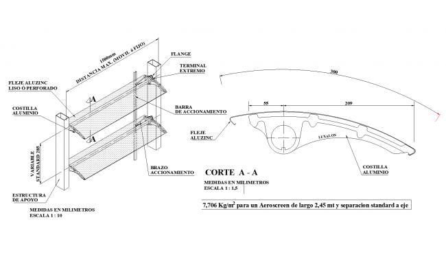 Metallic lattice parasol plan detail dwg file.