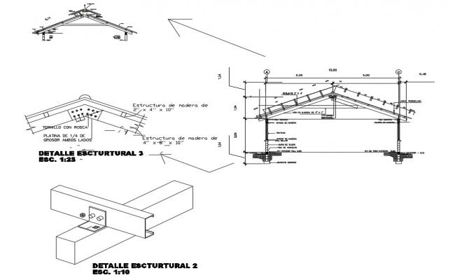 metallic structure roof construction cad drawing details