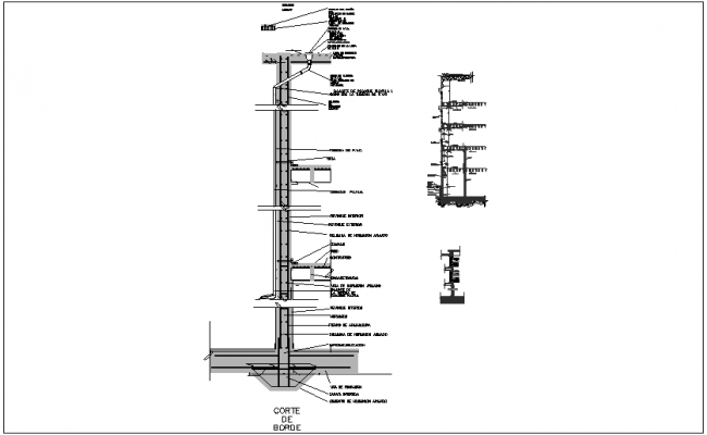 Metallic structure section view for dining room dwg file
