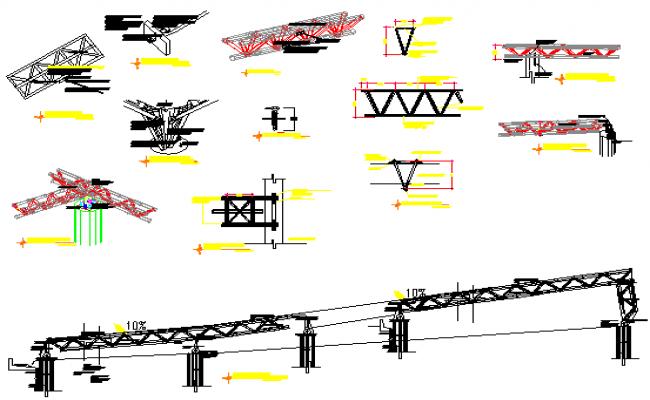 Metallic structure triangular design drawing