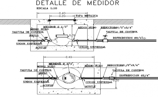 Meter detail dwg file