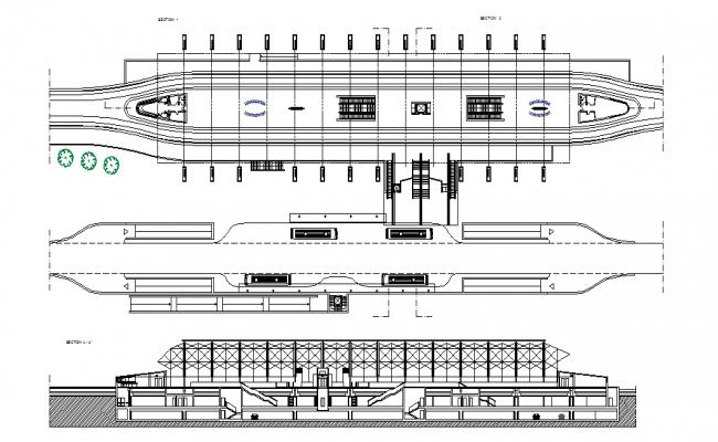 Metro railway station elevation dwg file