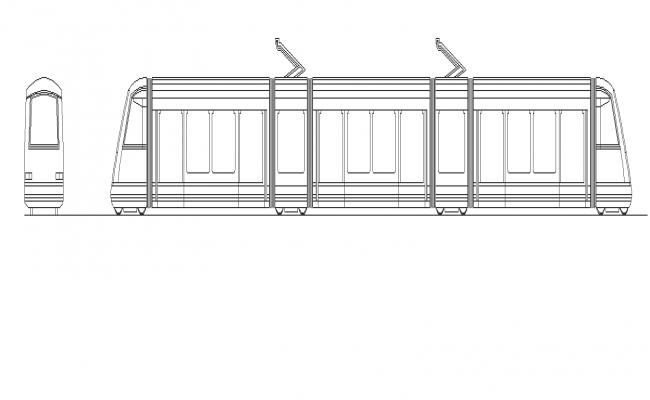 Metro train detail elevation 2d view layout autocad file