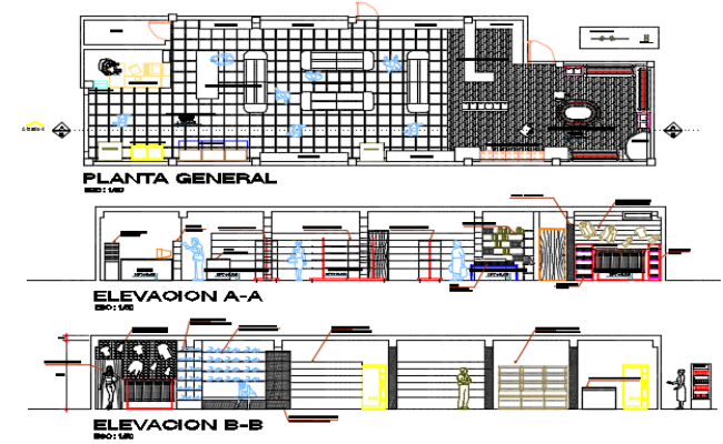 Mini market Plan and elevation detail dwg file