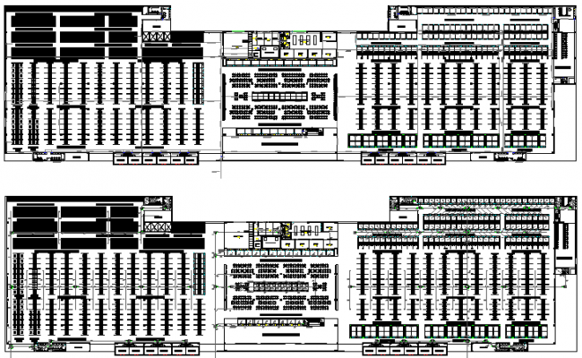 Mini market place detailed first and second floor plan details dwg file