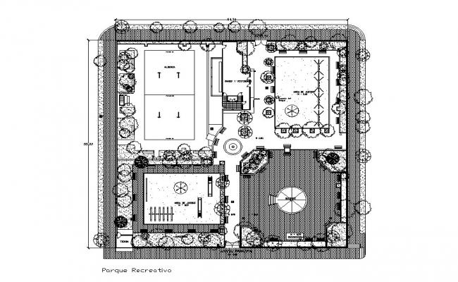 Mini recreation park landscaping structure cad drawing details dwg file